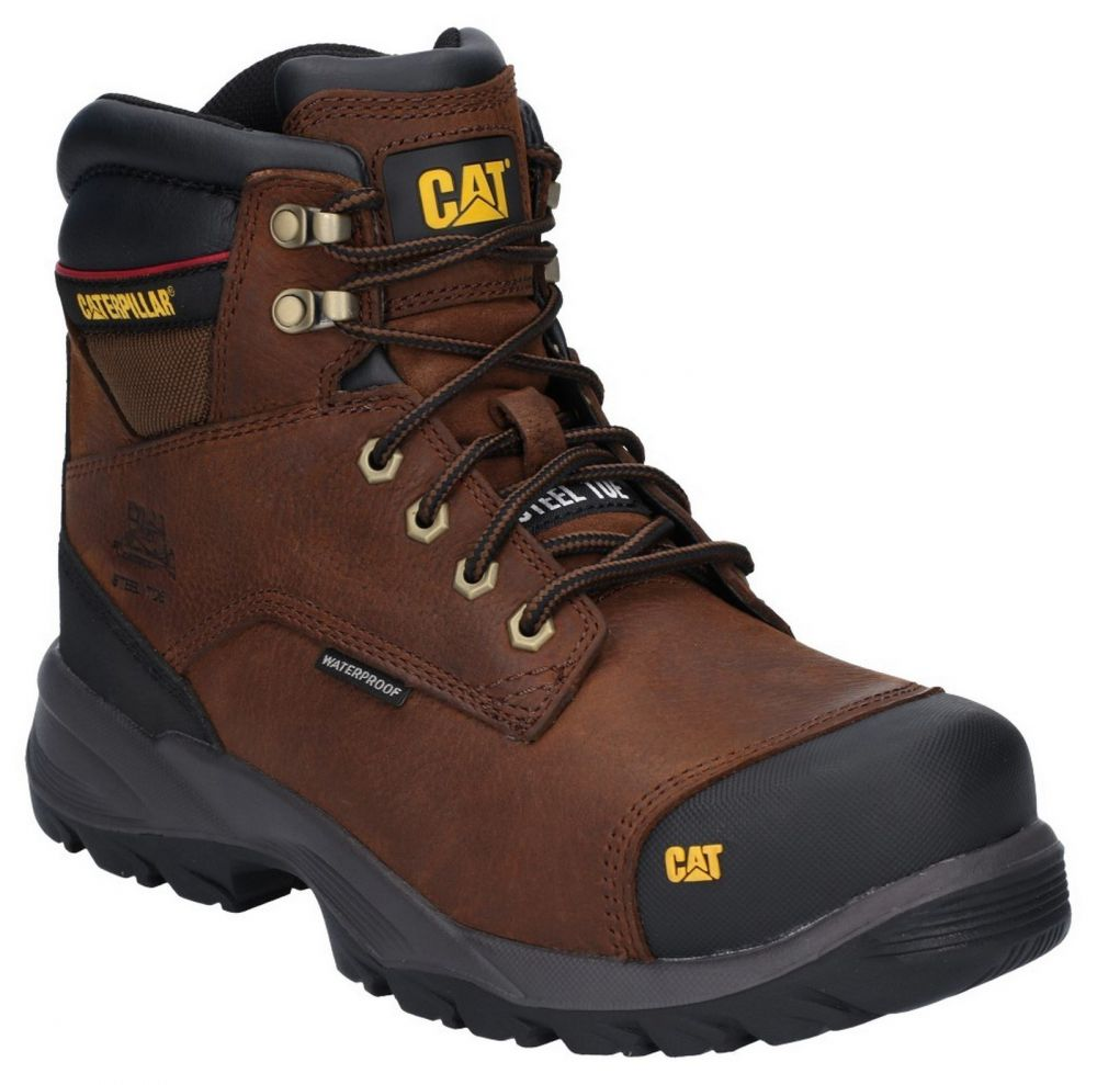 CAT Spiro S3 Waterproof Safety Boots Brown